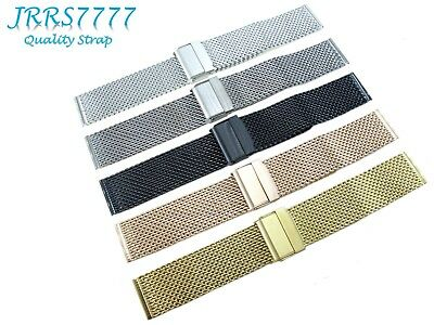 20mm Watch Bracelet Stainless Steel Multicolored 1.0mm Hard Wire Mesh Clasp New