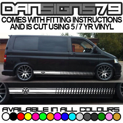 Vw Transporter T4 T5 T6 Side Stripes Graphics Decals Sticker Kit Both Sides