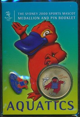 "Australia: 2000 Olympic Aquatics Medallion & Pin ""Syd"" Sports Mascot Booklet"