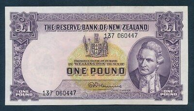 "New Zealand: 1960 LAST £1 Fleming ""SECURITY THREAD"". Pick 159d GVF - Cat VF $45"