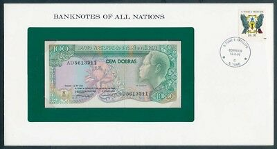 St Thomas & Prince: 1989 100 Dobras Note Stamp Cover, Banknotes Of All Nations