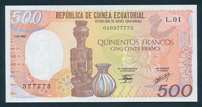 Equatorial Guinea: 1-10-1985 500 Francs. Pick 20, UNC Cat $20
