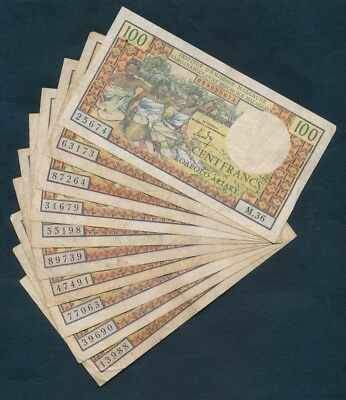 "Madagascar: 1966 100 Francs ""ORIGINAL HOARD OF 10 NOTES"". Pick 57a"