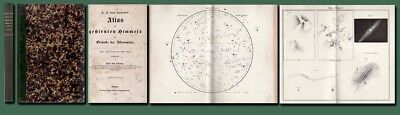 1854 Littrow STAR ATLAS-19 Plates including 14 Maps/Nebulae/Astronomy/Leather/VG