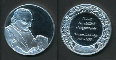 France: Louvre - Old Man with a Young Boy, Ghirlandaio 40g Silver Medal, 45mm