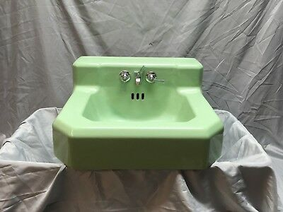 Vtg Standard Jadeite Green Porcelain Cast Iron Shelf Back Bath Wall Sink 408-18E