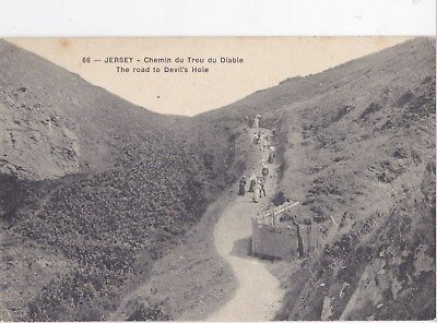 Old Stamped Postcard. The Road to Devil's Hole, Jersey.