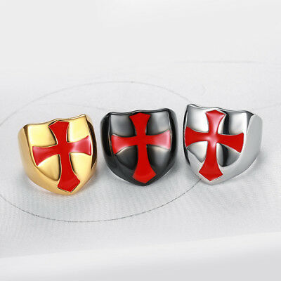 Retro Stainless Steel Ring Shield Knight Templar Crusader Cross Signet Ring Gift