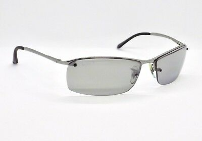 Ray Ban Polarised Semi Rimless Mirrored Top Bar Wrap RB3183 Sunglasses & Case