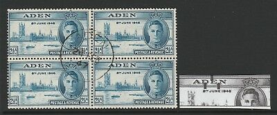 ADEN 1946 2½d VICTORY WITH 'SCRATCH THROUGH ADEN' R 7/1 SG 29 FINE USED.