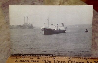 Postcard ~Tanker In Taunton River ~ Somerset Massachusetts MA~Early~ No Res