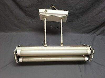 "Vtg 4 Tube 24"" Fluorescent Ceiling Light Fixture Art Deco  Old 411-18E"
