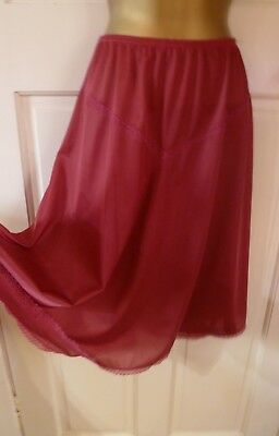 Vintage Shapely Figures Beautiful Claret Silky Full Skirt Half Slip Size 16-18