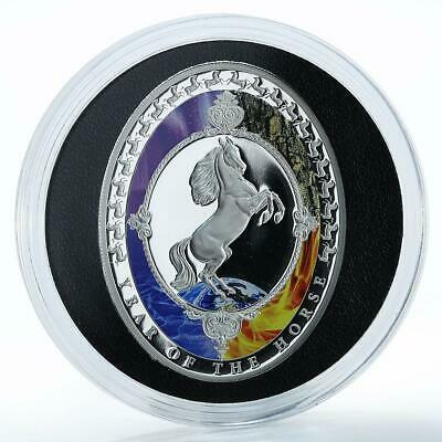 Tokelau $2  2014 Year of the Horse Oval Shaped Coin 1 oz Silver Proof