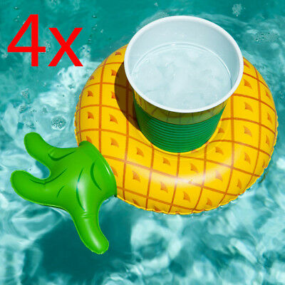 4 X Inflatable Pineapple Floating Drink Can Cup Holder Swimming Pool Beach Party