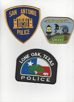 Set of 3  Texas Police Patches