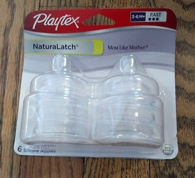 Package of 6 Playtex Naturalatch Fast Flow Nipples Natural Latch - NEW