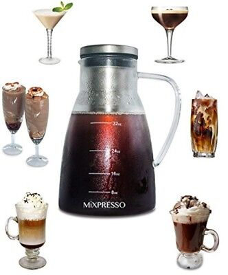 MIXPRESSO Iced Coffee Maker 1L/34Oz Glass Cold Brew Tea W/Stainless Steel Filter