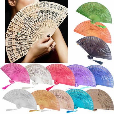 Wedding Hand Fragrant Party Carved Bamboo Folding Fan Chinese Style Wooden #DE5*
