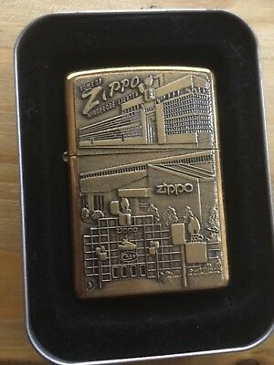 Extremely Rare 1998 Solid Brass Zippo Buildings Zippo MIB Unfired