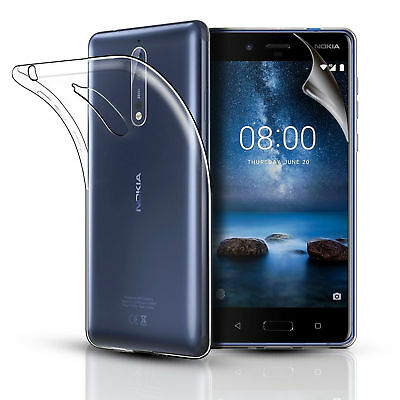 Nokia 6.1 (2018) Clear Slim Gel Phone Case Cover & Screen Protector