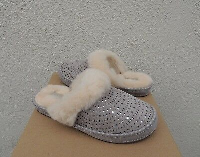 7d8a9ee2eea UGG SEAL GREY Aira Sunshine Perf Suede Sheepskin Slippers, Us 10 ...