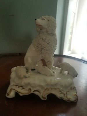 Vintage Porcelain Spaghetti Poodle And Puppies Figurine White W/ Gold Accents