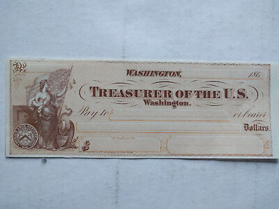Unused U.S. Treasury check, 1860s