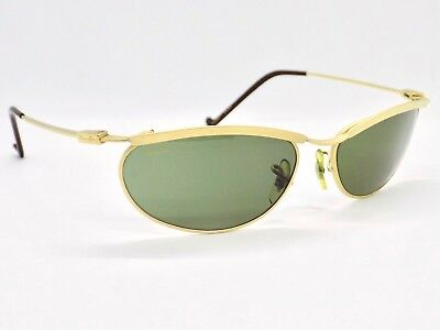 90's B&L Ray Ban New Deco Metal Oval Wrap, Matte Gold, W2568 Sunglasses & Case