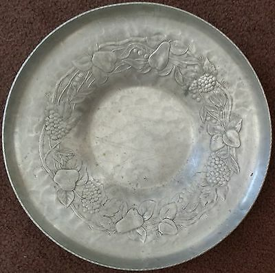 Vintage Forged Aluminum Tray, Everlast Metal Hand Forged, Fruit Design, Round