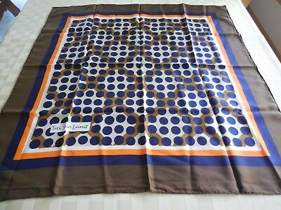 "Vintage YVES ST LAURENT  SILK Scarf 33"" Square Vibrant Colors Brown Navy FRANCE"