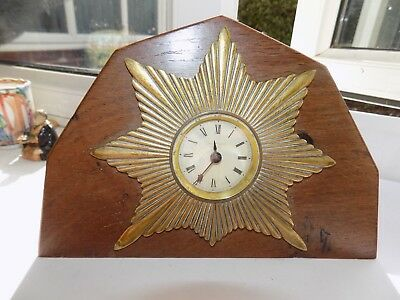 A E Hotchkiss Parker Centre Wind Oak Cased Star Burst Mantel Clock