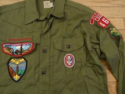 VTG 50s Men's Sanforized BOY SCOUT EAGLE HBT Shirt Texas Tatanka Patches US S 15