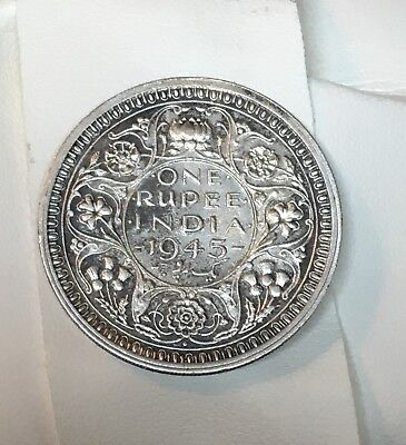 British India - 1945- King George VI - One Rupee Silver Coin