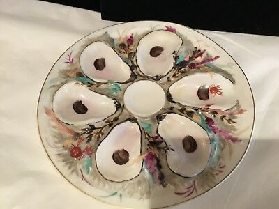 Rare Antique Increadable Colorful Oyster Plate Must See No Reserve Wow