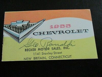 "1955 Chevrolet Pocket Size Brochure - 14 Models In 3 Series - 2 1/2"" X 4 1/2"""