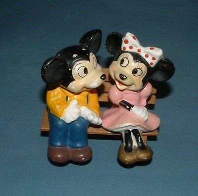 Vintage Disney Mickey & Minnie On Bench Salt & Pepper Shakers - Japan - Used