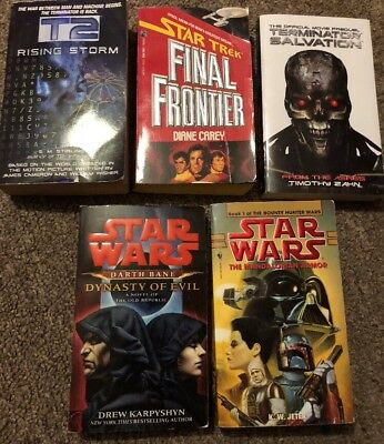 5 STAR WARS, STAR TREK, T2 Paperback Book Lot