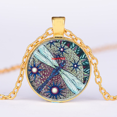 Art Whimsical Dragonfly Cabochon Gold Glass Chain Pendant Necklace Jewelry