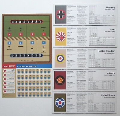AXIS & ALLIES 1987 Game Replacement Parts REFERENCE CHARTS WWII PARTS