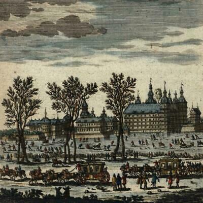Frederiksborg Denmark royal palace 1683 old Mallet city view print hand color