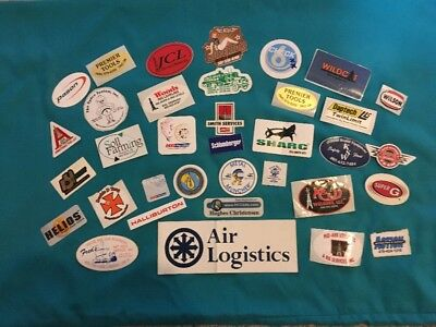Personal Collection Of Hard Hat Oilfield Stickers. Some Vintage 35 Different