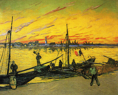 Vincent van Gogh, Coal Barges, 1888 Hand Painted Canvas Oil Painting