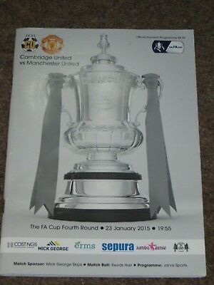 Cambridge United Manchester United Fa Cup 4Th Round Match Programme January 2015