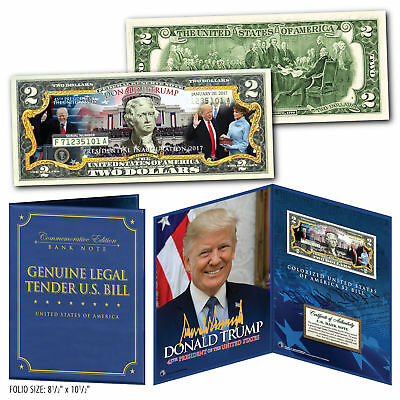 DONALD TRUMP 45th INAUGURATION $2 Bill in Large 8x10 Collectors Photo Display