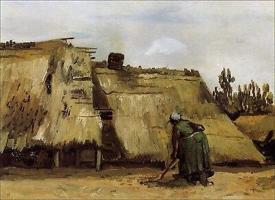 Vincent van Gogh, Cottage with Woman Digging, Hand Painted Canvas Oil Painting