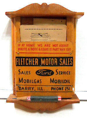 Vintage Advertising - Leave A Note - Wood Box-Fletcher Ford Motor Sales/Barry IL