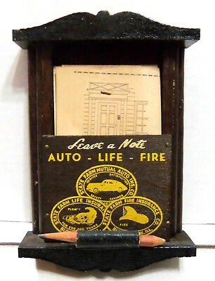 Vintage Advertising - Leave A Note - Wood Box - State Farm Insurance