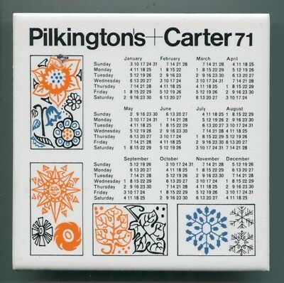 "Screen printed 6""sq calendar tile for 1971 by Pilkington's+Carter"
