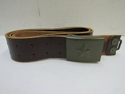 Vintage Czech Military Army Brown Leather Belt with Buckle Cold War Communist